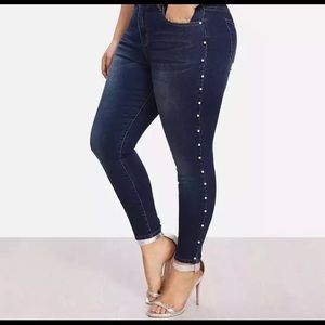 Denim - Pearl Buttoned Skinny Jeans
